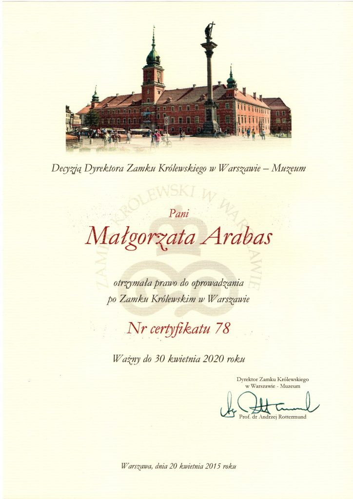 Warsaw Royal Castle Certificated guide, Warsaw guide,